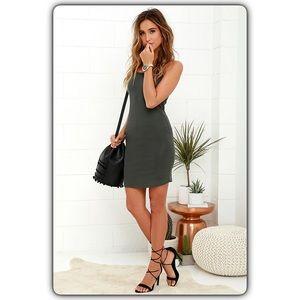 Olive & Oak So to Sleek Grey Bodycon Dress L NWT